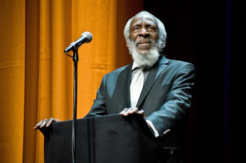 Dick Gregory attends the Roger Ebert Memorial Tribute at Chicago Theatre on April 11, 2013 in Chicago, Ill.