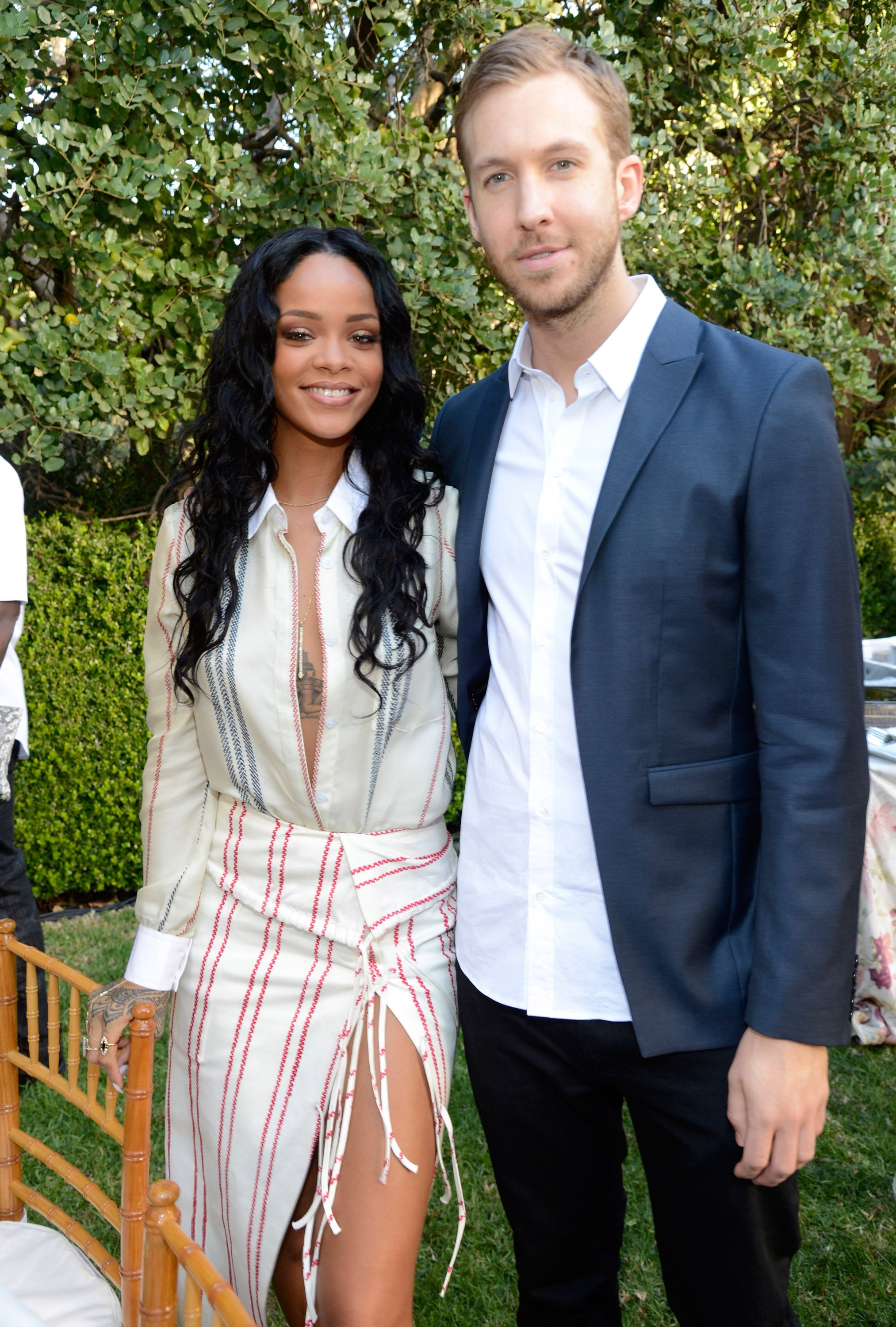 Rihanna and Calvin Harris attend the Roc Nation Pre-GRAMMY Brunch presented by MAC Viva Glam at Private Residence on January 25, 2014 in Beverly Hills