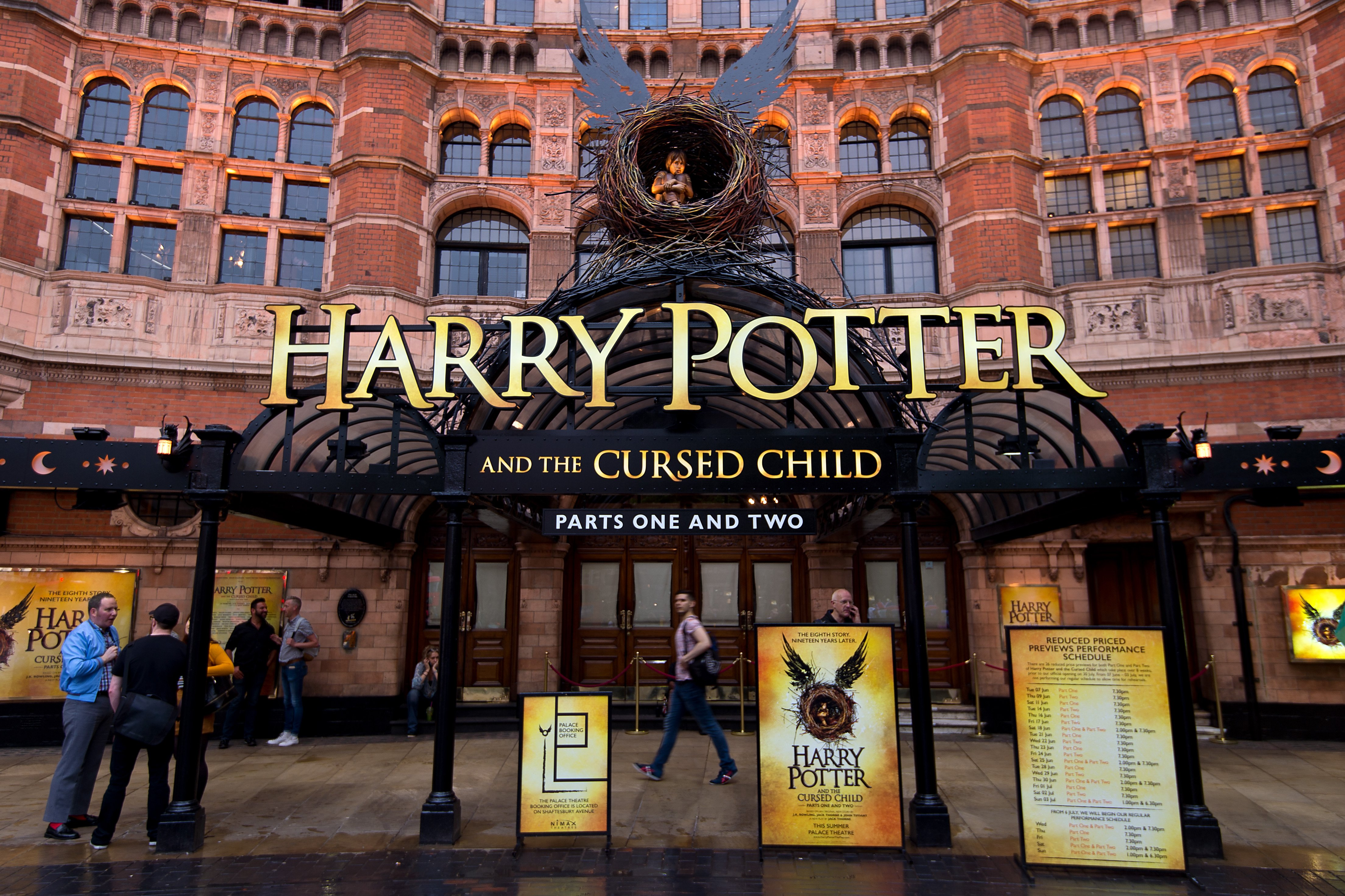 A general view of The Palace Theatre as previews start for 'Harry Potter and the Cursed Child' on June 7, 2016 in London