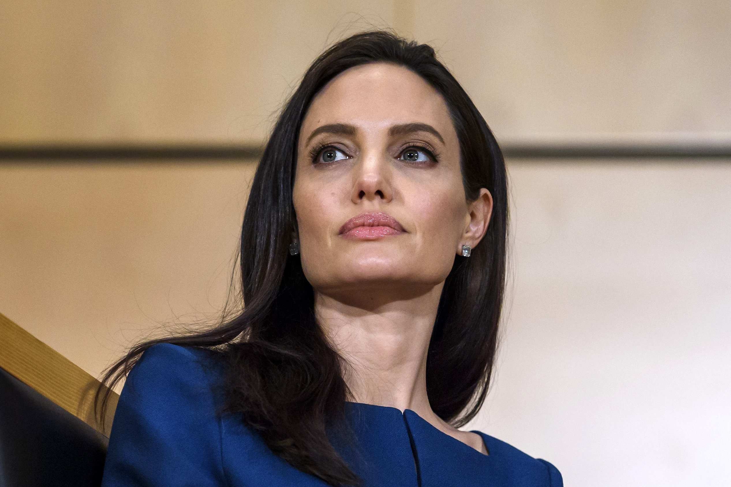 United Nations High Commissioner for Refugees (UNHCR) special envoy Angelina Jolie attends the annual lecture of the Sergio Vieira de Mello Foundation at the United Nations (UN) office in Geneva on March 15, 2017