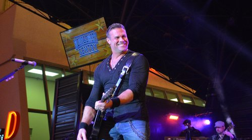 Troy Gentry of country music duo Montgomery Gentry performs during the 29th annual Downtown Hoedown at the Fremont Street Experience on December 2, 2015 in Las Vegas