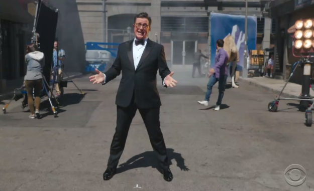 Soon, Colbert broke into a musical number that included mentions of global warming and the Middle East and cameos from other equally political actors...
