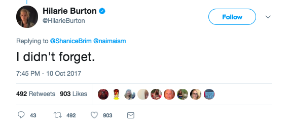 "Burton, who was a TRL VJ at the time and later starred on One Tree Hill, responded on Twitter, saying, ""I didn't forget."""