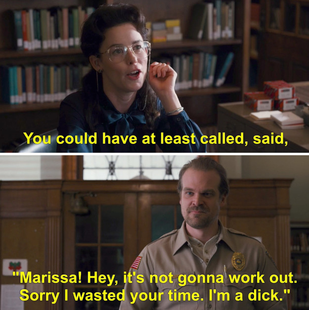 Remember Episode 3 of Season 1, after Will disappeared, Hopper went to the library to research the Hawkins National Laboratory? And had that awkward run-in with Marissa the librarian, who he 100% ghosted?