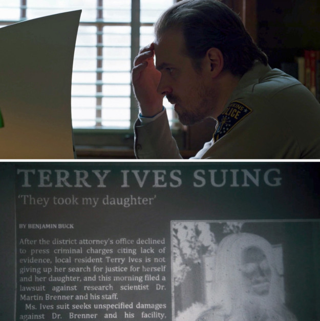 """He also found old newspaper articles about Terry Ives, who sued the evil Dr. Martin Brenner (aka Eleven's """"Papa"""") after she claimed he took her daughter, Jane."""