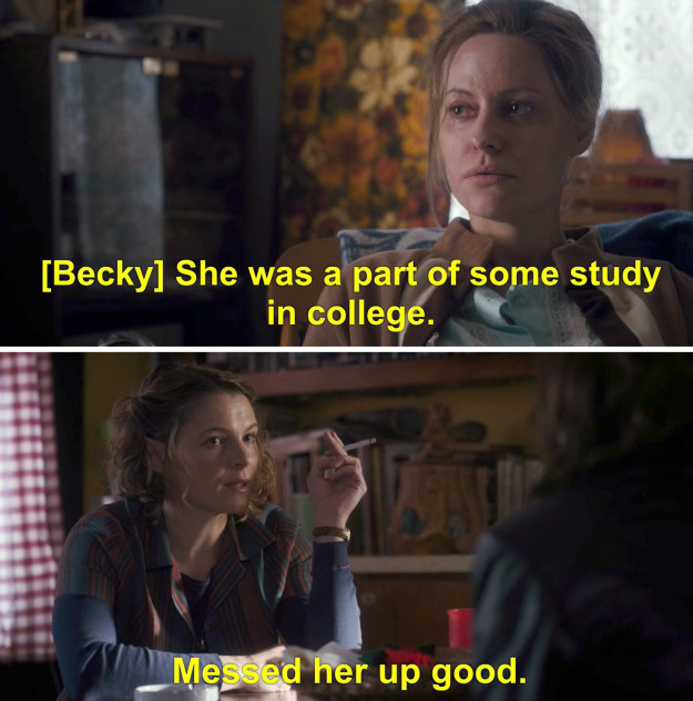 Becky explained that Terry hadn't spoken in five years, on account of the trauma she suffered after becoming involved in a drug-fueled experimental study during college.