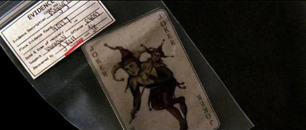 """The joker card that Jim Gordon hands to Batman at the end of Batman Begins was recovered by an officer named """"J. Kerr,"""" a common alias used by the Joker."""