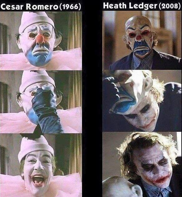 And speaking of the Joker, the mask he wears during the bank robbery at the beginning of The Dark Knight is a nod to Cesar Romero's Joker, who wears an almost identical mask during his first appearance in Batman, the 1960s television series.