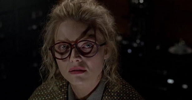 The shadow cast by Selina Kyle's glasses in Batman Returns foreshadows her transformation into Catwoman.