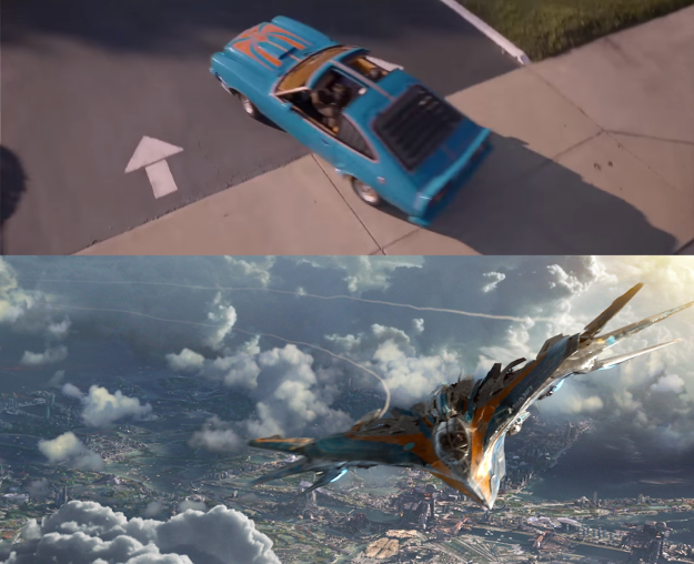 Ego's car in Guardians of the Galaxy Vol. 2 shares the same color scheme as Peter's ship.