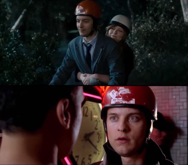 In Spider-Man 2, Peter does deliveries for Joe's Pizza. In Spider-Man 3, the Joe's Pizza sticker is still visible on his helmet.