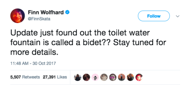 Moments later, the actor revealed that what he presumably thought was an object from which he could receive a refreshing drink of water was actually a bidet.