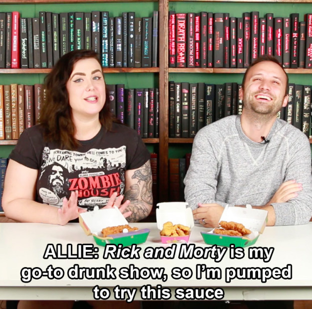 Allie and Andy, on the other hand, are both Rick and Morty fans, so that's why they were excited to try the sauce.