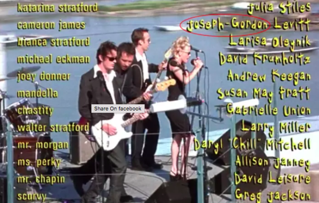 Joseph Gordon-Levitt's hyphen is in the wrong place in the 10 Things I Hate About You credits.