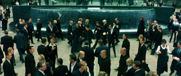 The red dress scene in The Matrix has multiple sets of twins and triplets.