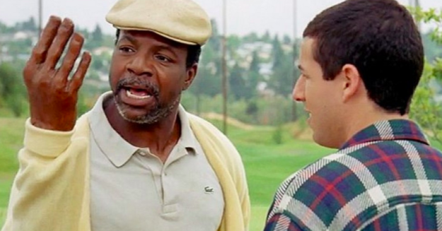 Chubbs wears a Lacoste shirt in Happy Gilmore.