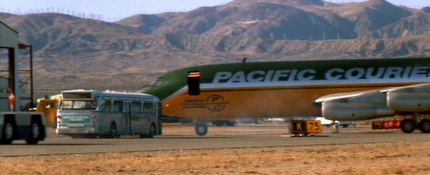 The plane destroyed at the end of Speed belongs to Pacific Courier.